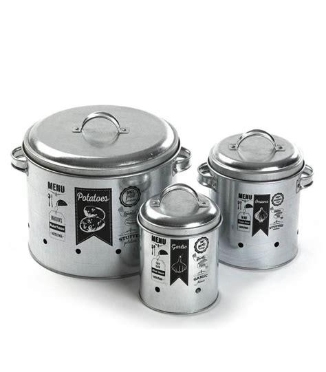 Boite Rangement Deco 2305 by Set De 3 Pots De Conservation En M 233 Tal Pour Ail Oignon Et