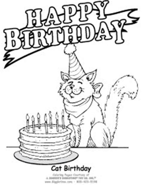 happy birthday cat coloring page birthday coloring pages giggletimetoys com