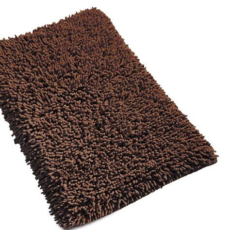 tapis de sortie de tapis de bain 50x80cm uni coton chenille marron linnea vente de linge de maison