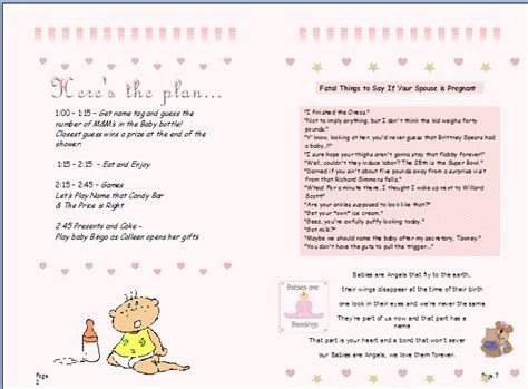 Baby Shower Agenda Template by Baby Shower Itinerary