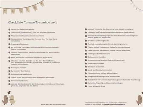 Hochzeitsplanung Checkliste by Gratis Printable Checkliste F 252 R Eure Traumhochzeit Diy
