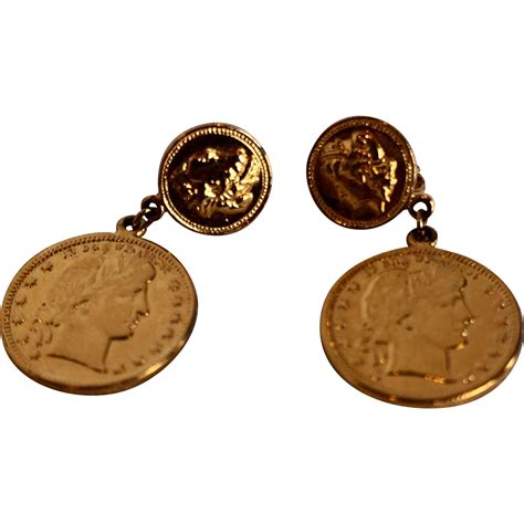 Gold Tone Clip Earrings gold tone liberty dollar coin dangle clip earrings from