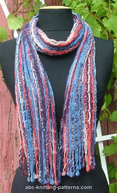 knitted scarf patterns using sock yarn abc knitting patterns chain scarf with crochet fringe