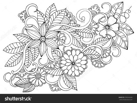 flower coloring book doodle floral pattern in black and white page for
