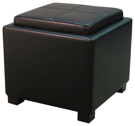 Square Black Leather Ottoman Venzia Bonded Leather Square Ottoman Black Modern Footstools And Ottomans By New Pacific
