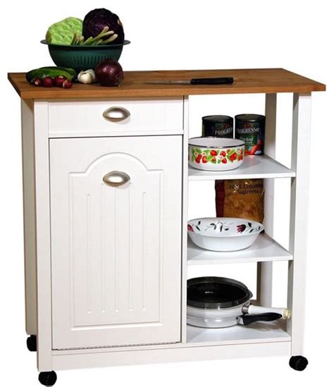 kitchen island trash bin venture horizon butcher block mobile island bin in