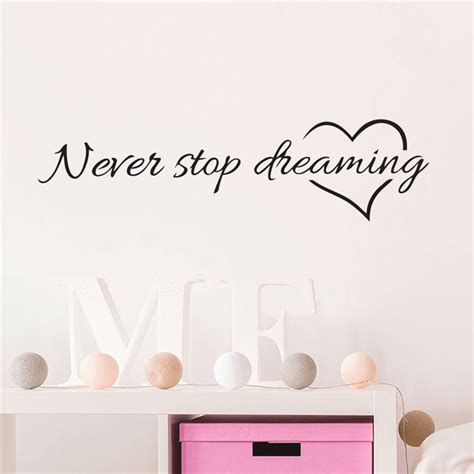 never stop dreaming wall stickers bedroom living room