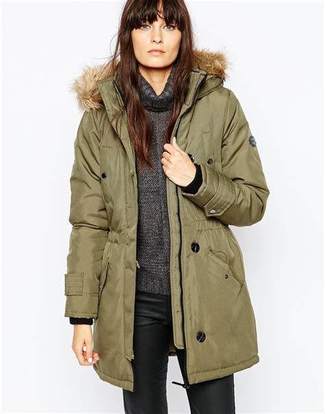 Vero Moda Parka by Vero Moda Parka With Faux Fur In Green Lyst