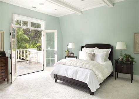 soft green master bedroom color schemes with a door opening to the garden ideal home