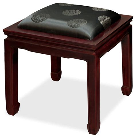 horseshoe bench rosewood horse shoe bench w silk cushion asian upholstered benches by china