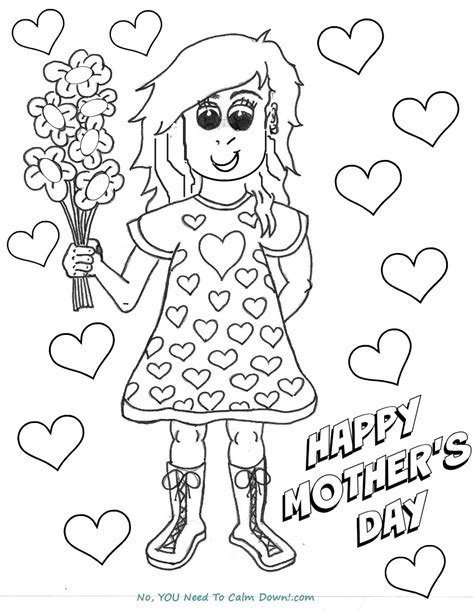 colors free printables no you need to calm down girl with flowers mother s day coloring page free