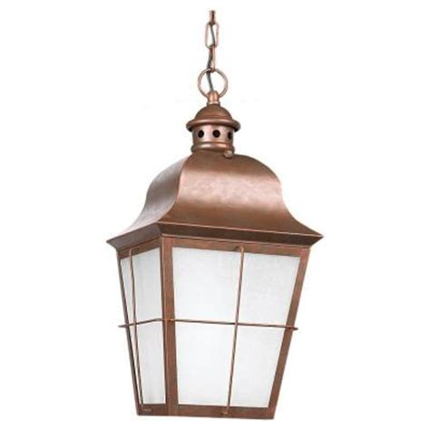 Outdoor Copper Light Fixtures Sea Gull Lighting Chatham Ceiling Mount 1 Light Outdoor Weathered Copper Hanging Pendant Fixture