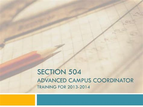 section 504 coordinator ppt section 504 advanced cus coordinator training for