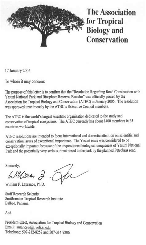 Motivation Letter Nature Conservation Yasuni Atbc Letter