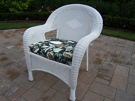 oakland living white resin wicker arm chair