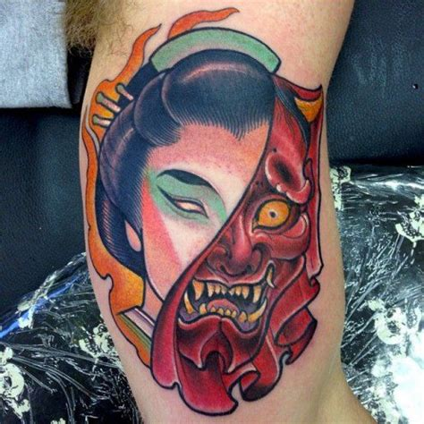 hannya mask tattoo colour meaning japanese hannya tattoos origins meanings ideas tatring