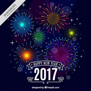 happy new year background with colorful fireworks vector