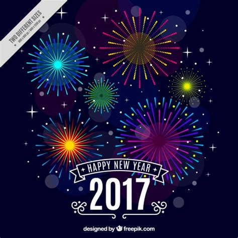 new year background happy new year background with colorful fireworks vector