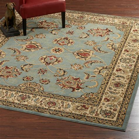 light blue area rug 8x10 ottomanson traditional medallion light blue 7 ft 10 in x 9 ft 10 in area rug