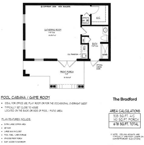 bradford pool house floor plan new house