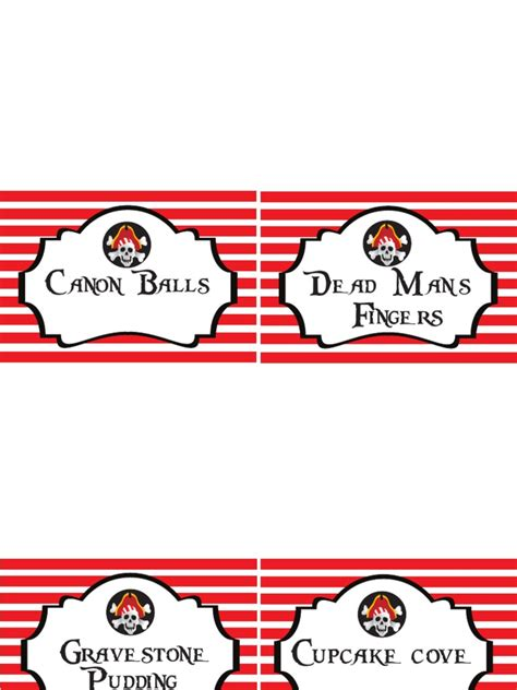 Free Printable Pirate Food Signs Captain Label Template