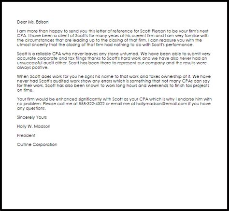 Cpa Reference Letter   Reference Letters   LiveCareer