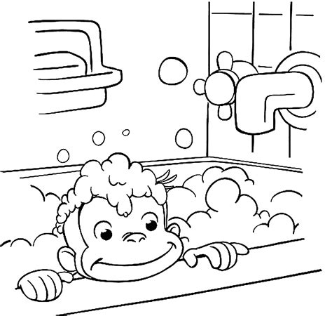 curious george is bathing coloring pages for kids