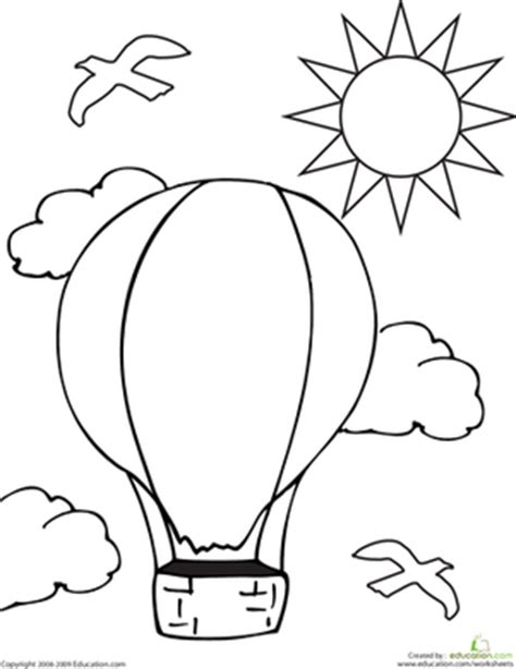 balloons coloring pages preschool color the hot air balloon worksheet education com