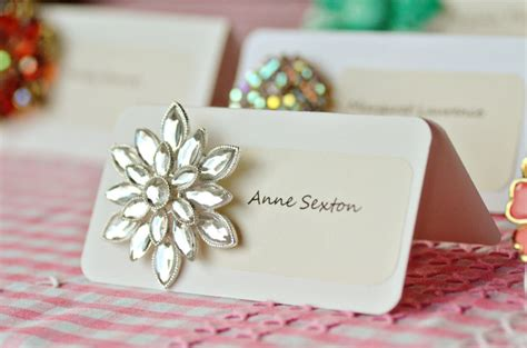 diy name cards diy vintage brooch escort cards