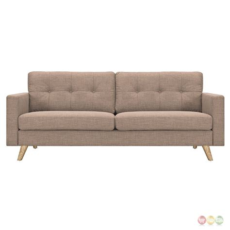 Uma Mid Century Modern Beige Fabric Button Tufted Sofa W Mid Century Modern Tufted Sofa