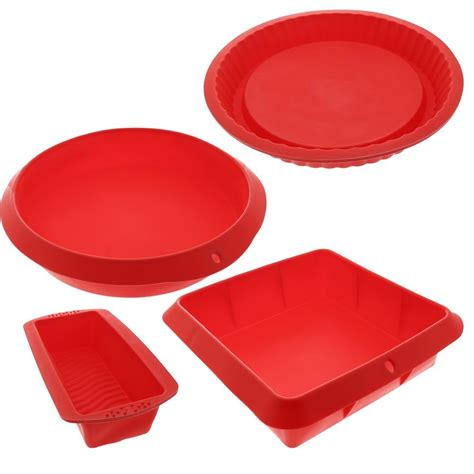 silicone baking molds set 4 nonstick silicone bakeware set with round square ebay