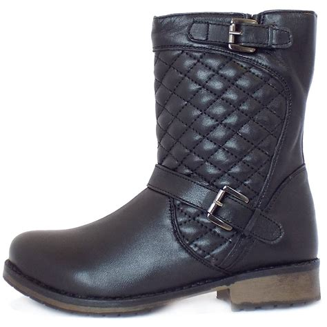 best biker boots lotus monroe black leather biker boots with quilted top