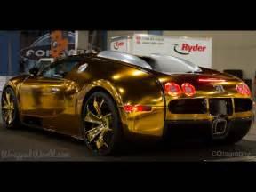 Solid Gold Bugatti Golden Gatti Flo Rida S Gold Chrome Wrapped Bugatti