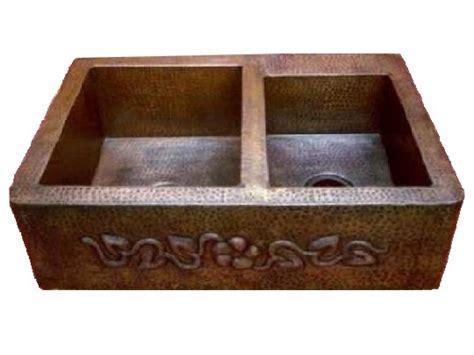 Copper Kitchen Sinks For Sale by Copper Farmhouse Sink 60 40 Flower Design Apron 35x22x9