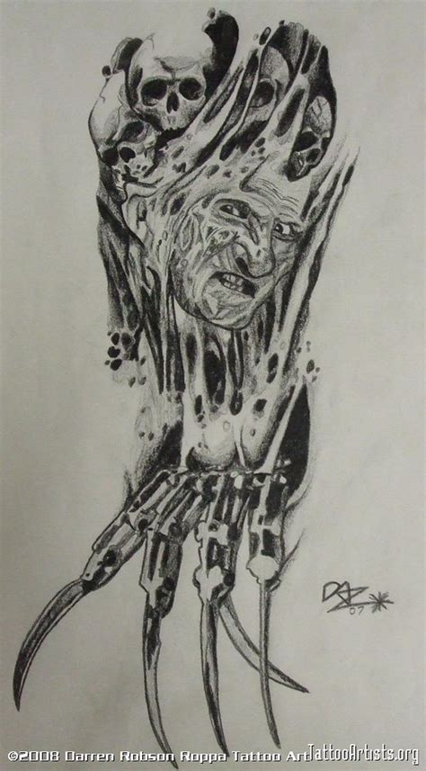 horror tattoo design biomech freddy horror design tattoos book