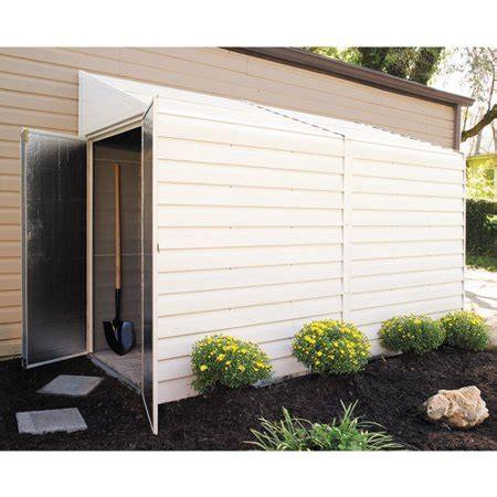 yardsaver    ft steel storage shed pent roof eggshell