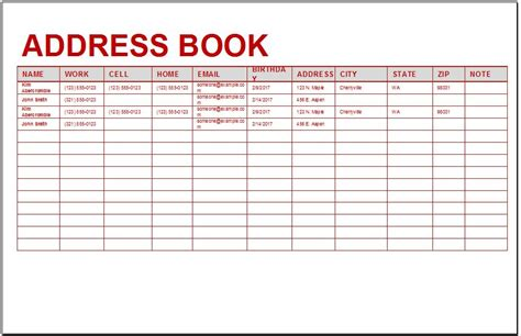 personal contacts address book template formal word