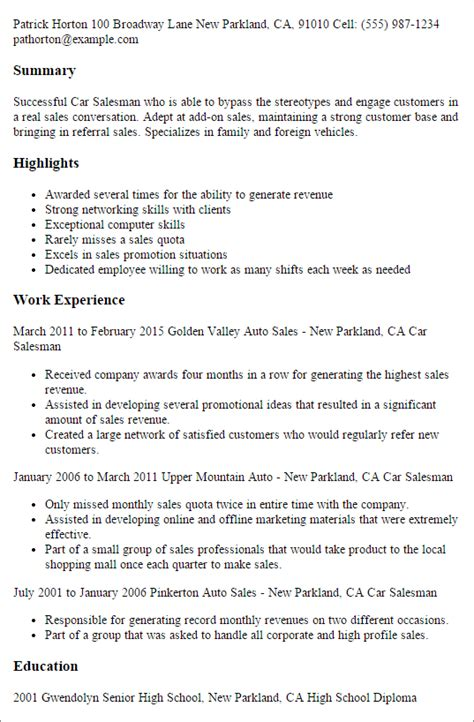 Salesman Resume Exle by Professional Car Salesman Templates To Showcase Your Talent Myperfectresume