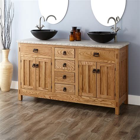 bath cabinets for vessel sinks 60 quot mission hardwood vessel sink vanity bathroom