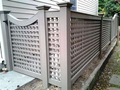 home design studio chain link wall décor grey wood lattice fence and gate garden backyard