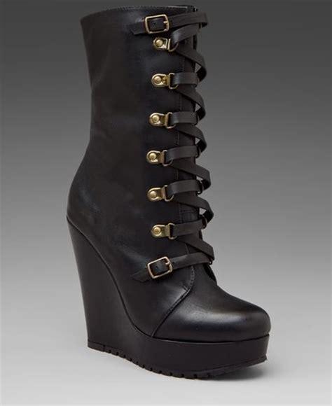 kelsi dagger hettie lace up wedge boot in black lyst