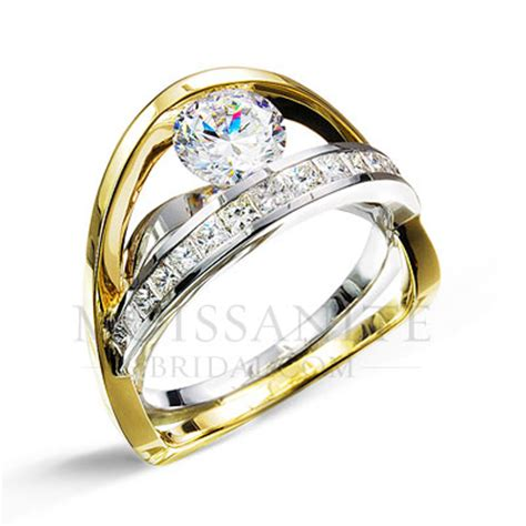 Ultra Modern Two Toned Forever Brilliant Moissanite with