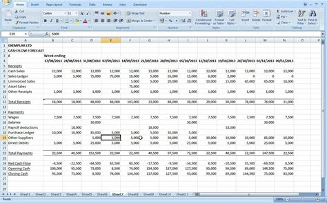 sle cash flow projections excel preparing a cash flow forecast part 2 youtube