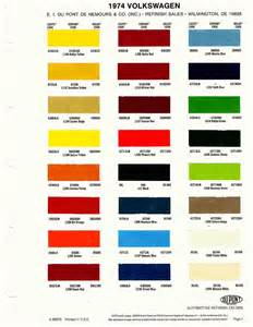 thesamba com gallery 1974 vw paint codes from dupont