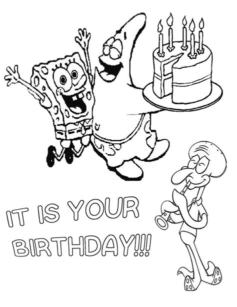 spongebob and friends happy birthday coloring page h m