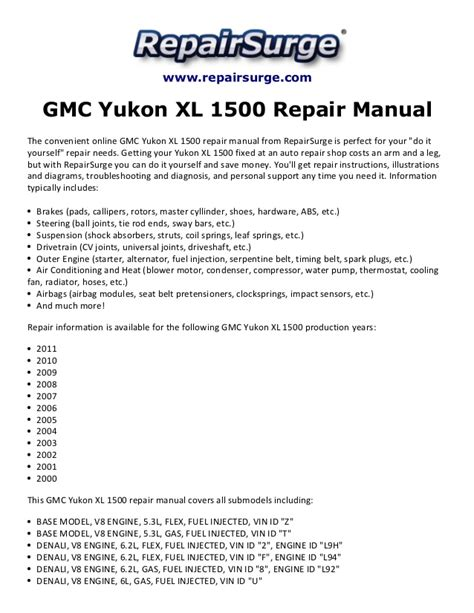 how to download repair manuals 2004 gmc yukon xl 2500 electronic toll collection gmc yukon xl 1500 repair manual 2000 2011