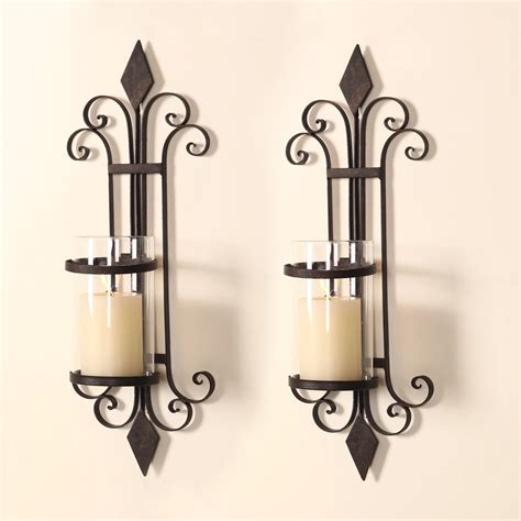 Candle Holder Wall Sconces Adeco Iron And Glass Vertical Wall Hanging Candle Holder Sconce Holds One Pillar Candle Set