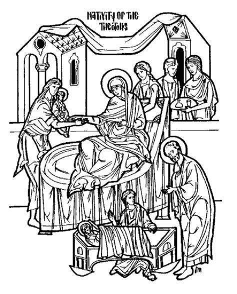 nativity icon coloring page nativity of the theotokos antiochian orthodox christian