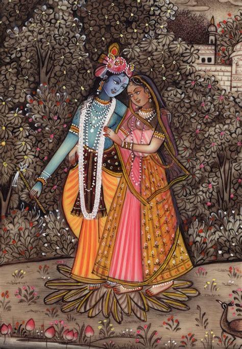 Handmade Paintings Of Radha Krishna - hindu miniature radha krishna painting handmade indian