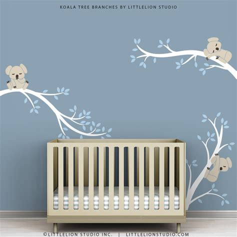 Baby Wall Decals For Nursery Decor White Tree Blue Leaves Wall White Tree Decal For Nursery Wall